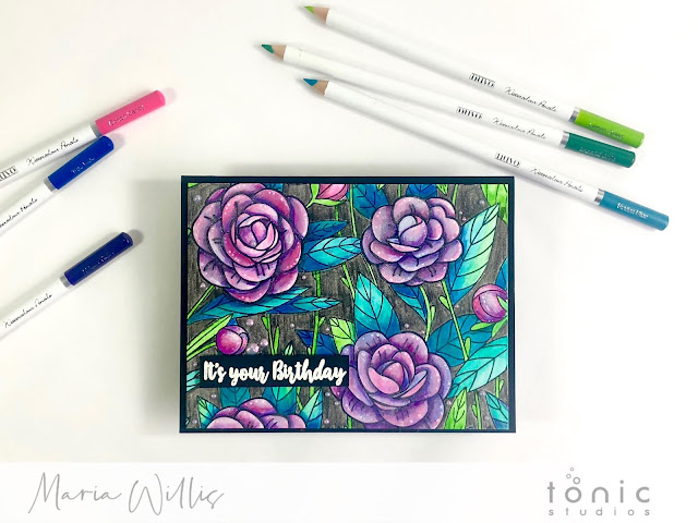 #maria willis, #cardbomb, #tonicstudios, #tonicstudiosusa, #tonicstudiosgardenparty, #nuvo, #cards, #cardmaking, #handmade, #handmadecards, #stamp, #ink, #paper, #papercraft, #craft, #create, #color, #pencils