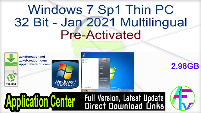 Windows 7 Sp1 Thin PC 32 Bit – Jan 2021 Multilingual Pre-Activated