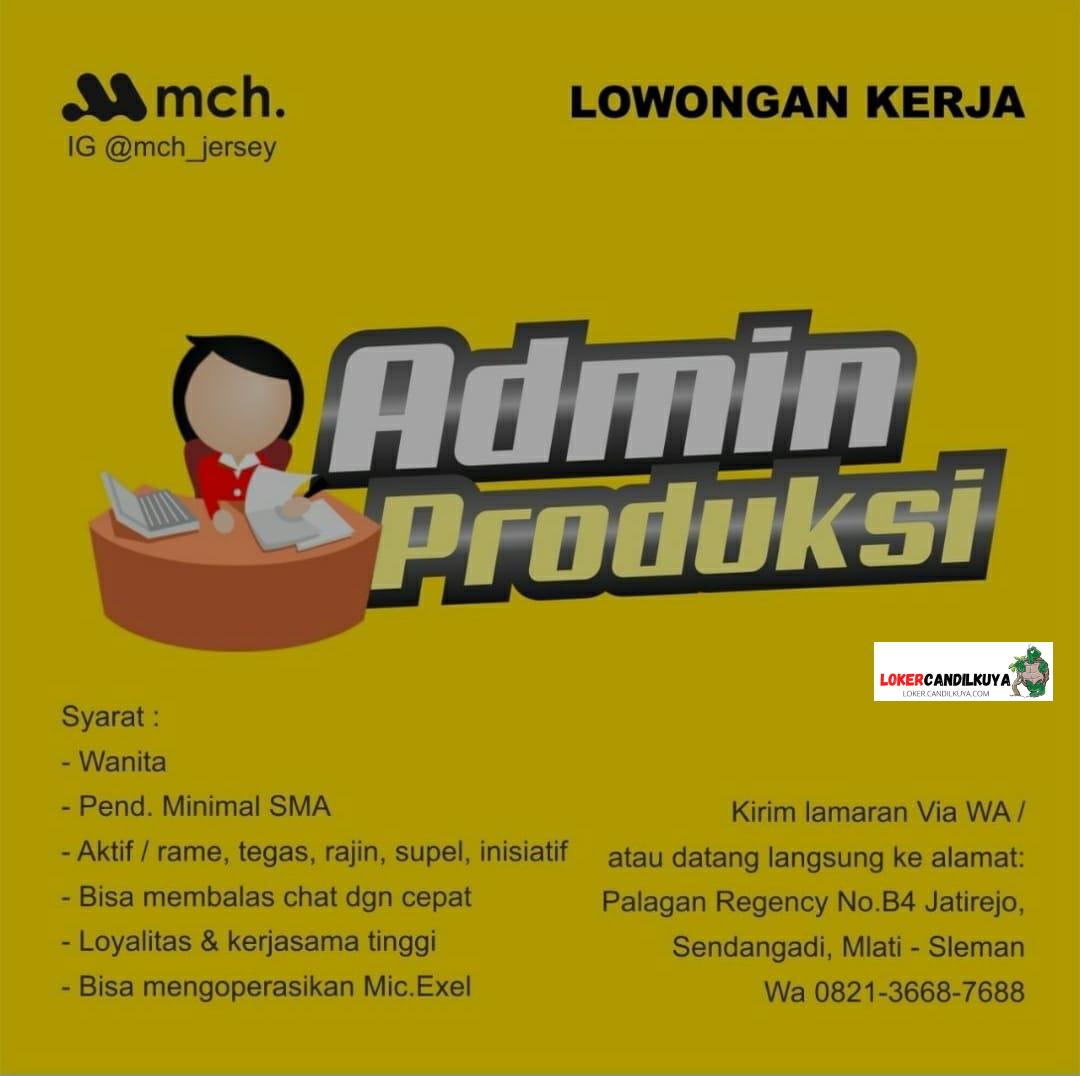 Lowongan Kerja Admin Produksi Yogyakarta