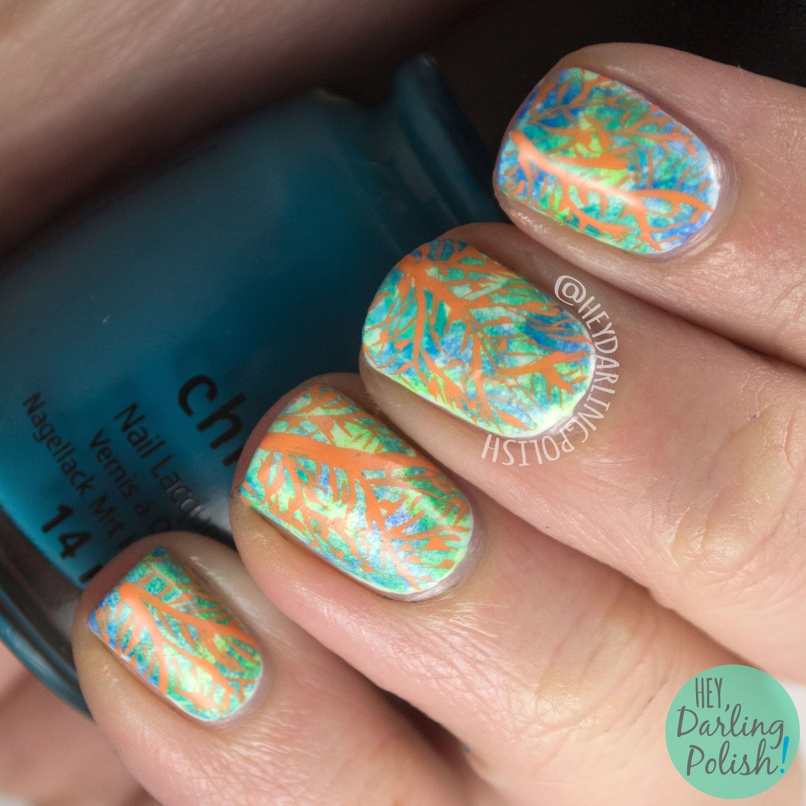 nails, nail art, nail polish, sea fans, oceanic, neon, 52 week challenge, hey darling polish, freehand, sponge