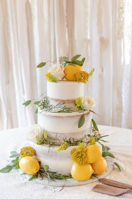 naked wedding cake with lemons