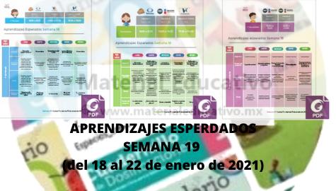 Semana 19 Aprende en Casa Aprendizajes Esperados (del 18 al 22 de enero de 2021)