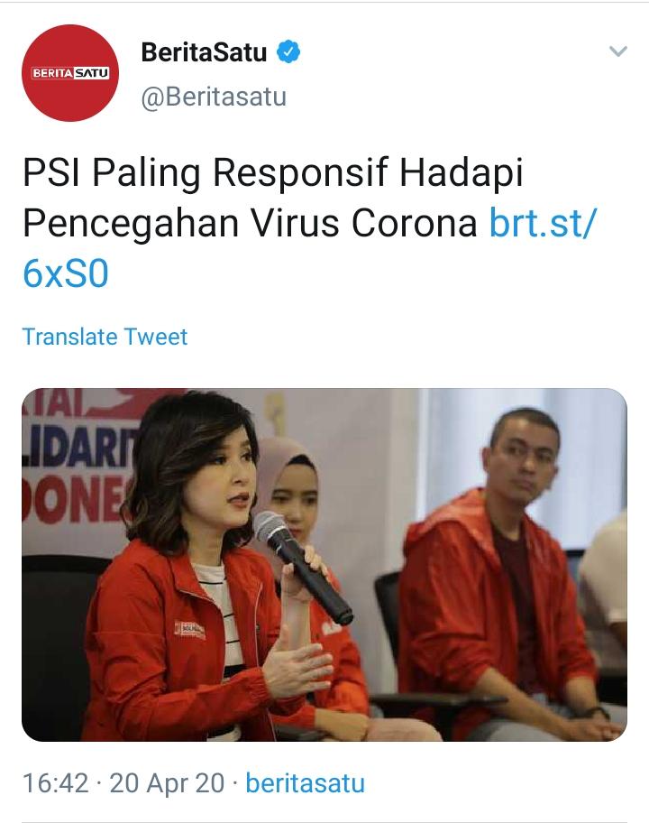 BeritaSatu Sebut PSI Paling Responsif Hadapi Virus