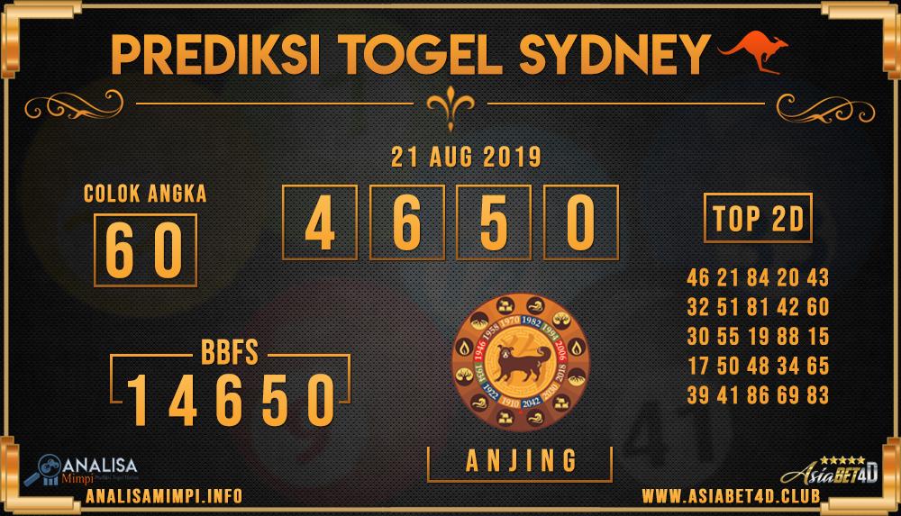 PREDIKSI TOGEL SYDNEY ASIABET4D 21 AUG 2019