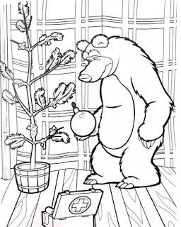 דפי צביעה מאשה והדוב לילדים בגן