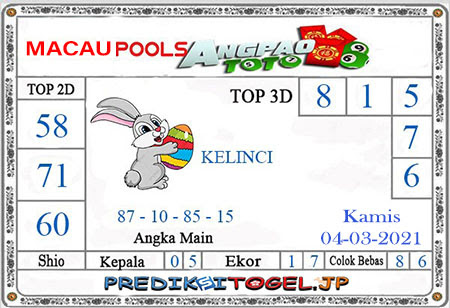 Prediksi Angpao Toto Macau Kamis 04 Maret 2021