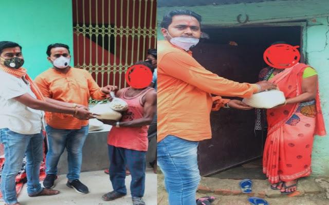 भाजपा किसान मोर्चा रक्सौल के द्वारा लाॅक डाउन में जरूरतमंदों के बिच राशन वितरण