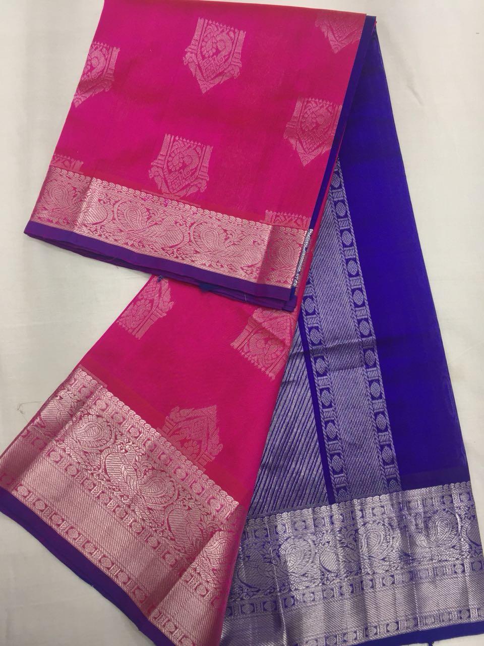 42645489a22e7 Kuppadam Pattu Sarees with Kanjeevaram Borders and Silver Jari