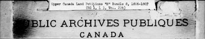 Image from the bottom of the microfilm from Upper Canada Land Petitions (1763-1865), H Bundle (1806-1807), RG1 L3 Vol 226, petition 71 - C-2046, image 55.