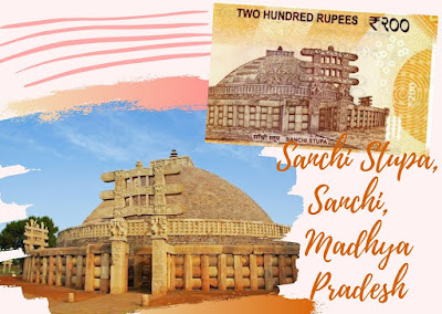 Sanchi Stupa, Madhya Pradesh monument  on Rs. 200 doibedouin