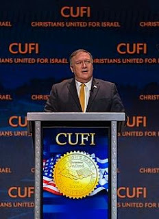 "Pompeo at lectern with ""Christians United for Israel"" backdrop"