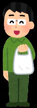 ビニール袋を持つ人のイラスト(男性)