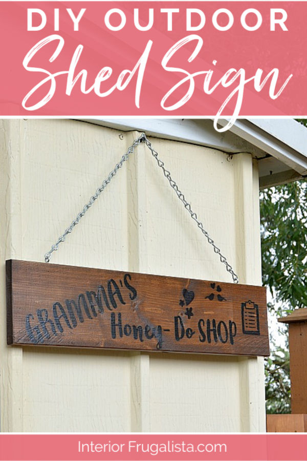 "How to get the look of a wood-burned sign with paint! A fun DIY salvaged junk wood ""faux wood-burned"" Garden Shed Sign that matches the real thing! #diygardenshedsign #diywoodsign #diyshedsign"