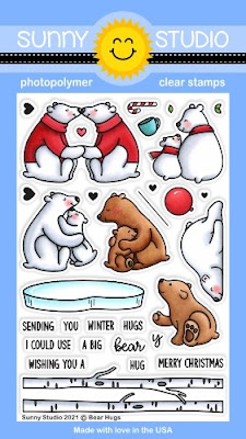 Sunny Studio Stamps: Bear Hugs polar bear with Ice & birch Trees Winter 4x6 Clear Photopolymer Stamp set