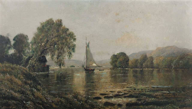 Edmund Darch Lewis - Sunset with Boats
