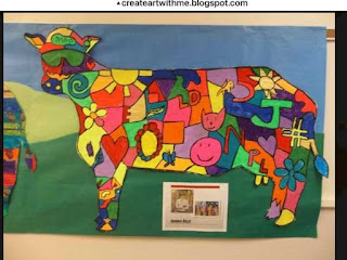 Art room bulletin board for Cows on Parade