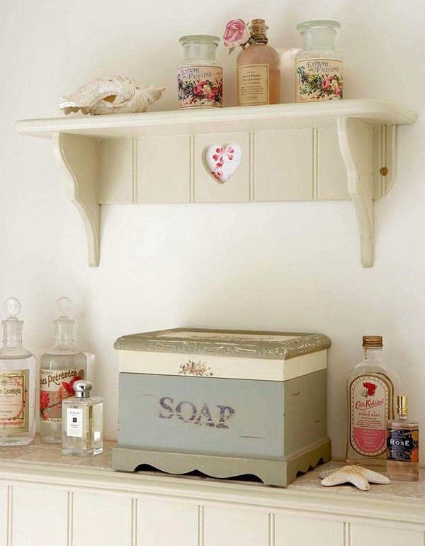 Cottage chic bathroom shelving and decor