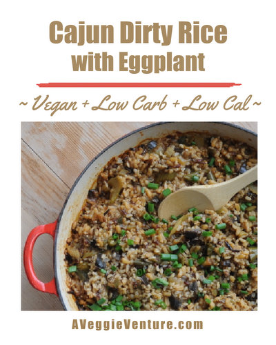 Cajun Dirty Rice with Eggplant, a great choice for Mardi Gras and Cajun parties ♥ A Veggie Venture. Vegan. WW Friendly. Low Cal. Low Carb.