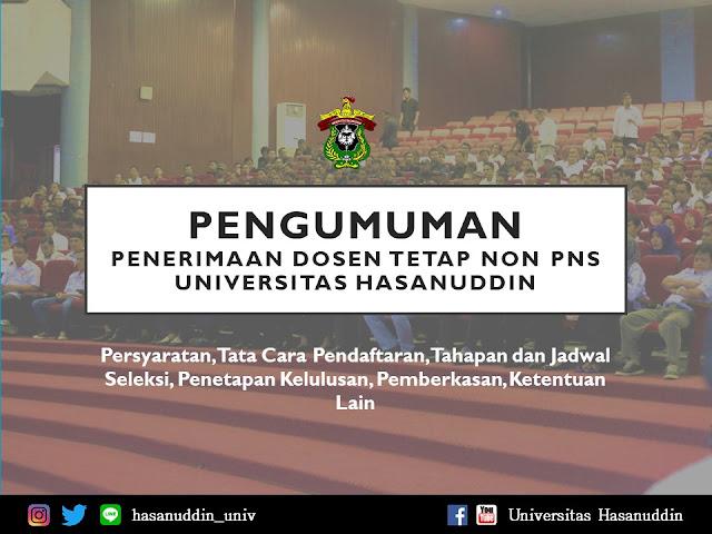 Rekrutmen Dosen Tetap Unhas Non PNS Tahun 2019; info loker 2019; tomatalikuang.com