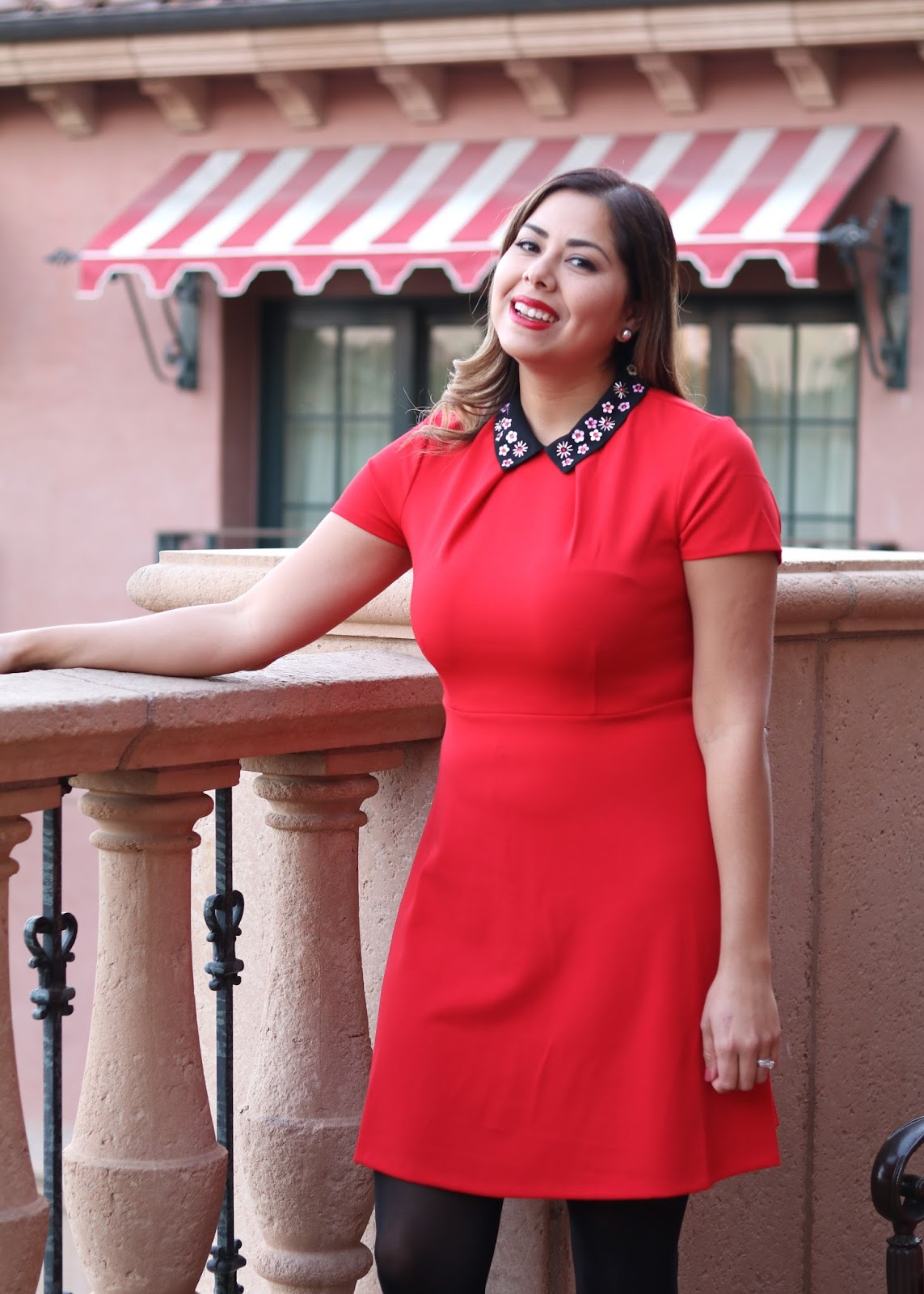 little red dress with black collar, embellished collar red dress, red dress from kohls