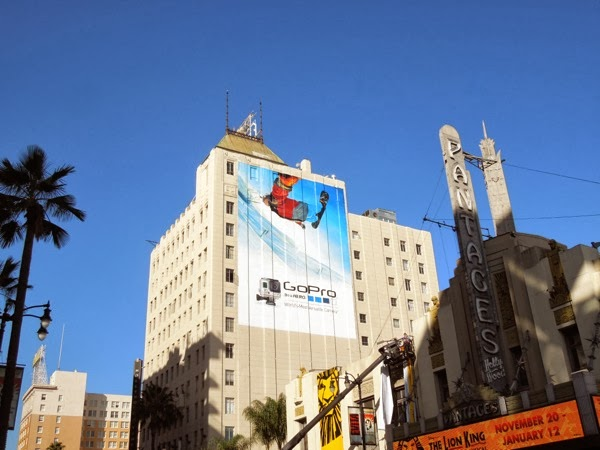 Giant GoPro snowboarder billboard Hollywood