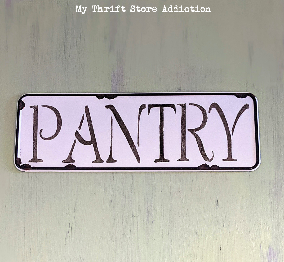 stenciled pantry sign