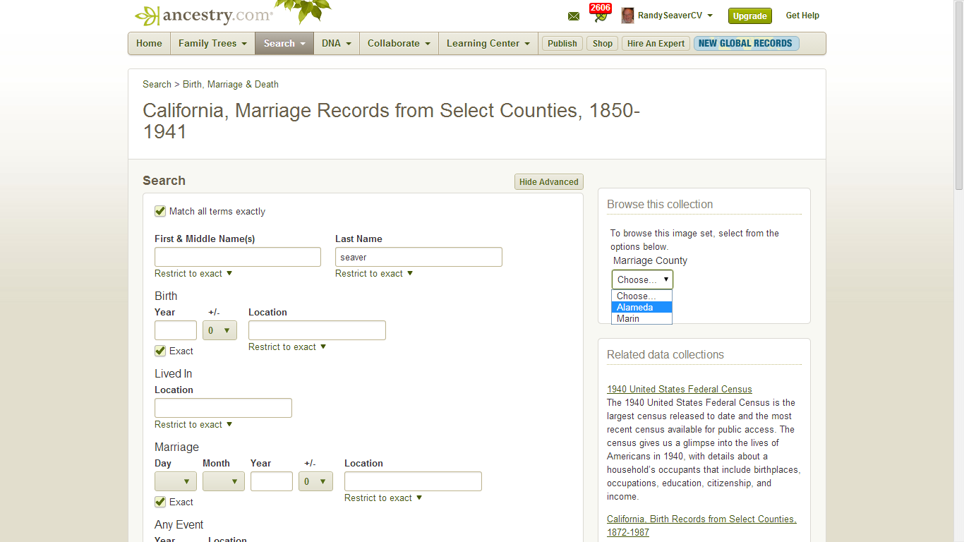 Genea-Musings: California Marriages, 1850-1941 for Selected Counties
