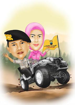 Karikatur Polisi Naik Mobil Offroad