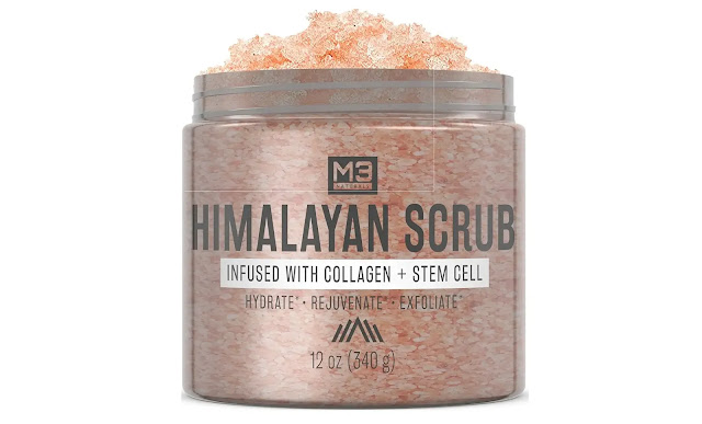 Himalayan salt scrub infused with collagen and stem cell