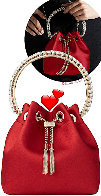 Jimmy Choo royal red Bon Bon satin bag with crystal handle #brilliantluxury