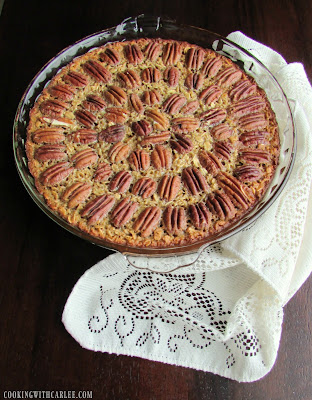 pie dish filled with pecan baked oatmeal