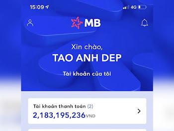 Chế ảnh khoe số dư tài khoản MB Bank để sống ảo