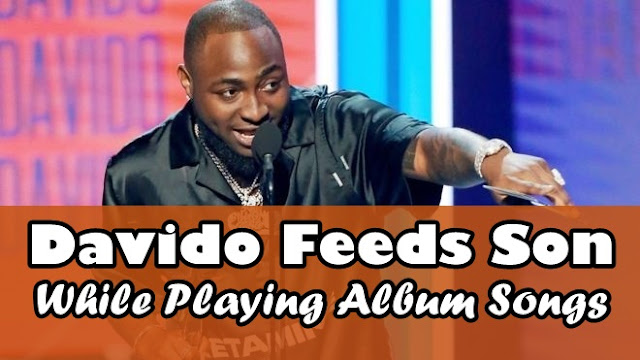 Check Out Cute Face Of Ifeanyi Adeleke As He Is Being Fed By His Father, Davido