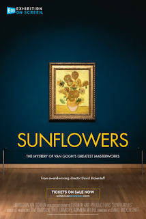 Film poster - Van Gogh's Sunflowers in a gilt frame on a navy blue wall