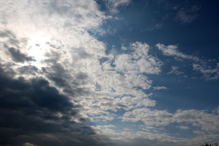 Clouds and blue sky, mixed