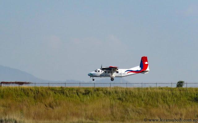 9N-AKS of Nepal airlines aircraft landing