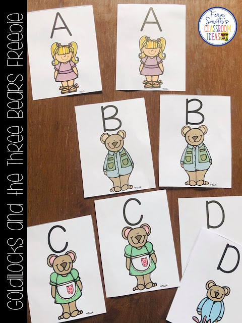 Goldilocks and the Three Bears Kindergarten Math and Reading Rotation Items to Help Teach Procedures During Your Center & Small Group Time Freebie! #FernSmithsClassroomIdeas