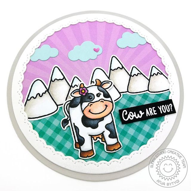 Sunny Studio Stamps: Miss Moo Comic Strip Everyday Dies Fancy Frames Circle Dies Cow Are You Punny Card by Anja Bytyqi