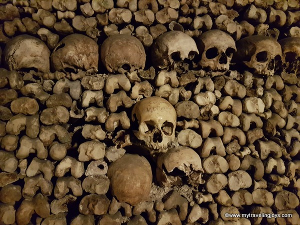Layers of skulls and bones Catacombs of Paris