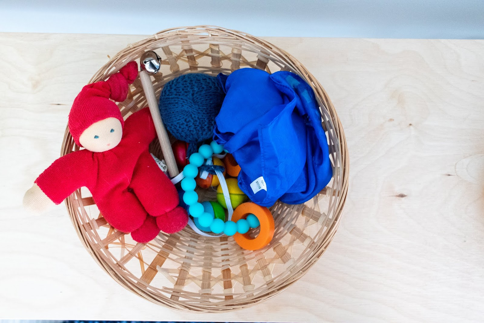 A quick look at how we rotate baby toys in our Montessori home.