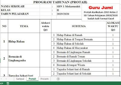 Download Unduh Protah Prosem Kurikulum 2013 Kelas 2 Sd Tahun Pelajaran 2019 2020 Sudah Jadi Format Excel Guru Jumi