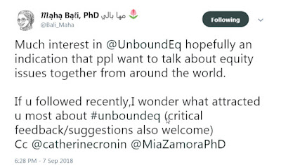 """""Much interest in @UnboundEq hopefully an indication that ppl want to talk about equity issues together from around the world.  If u followed recently, I wonder what attracted u most about #unboundeq (critical feedback/suggestions also welcome)"""""