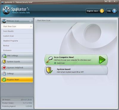 the screenshot of SpyHunter's Satrt New Scan tab