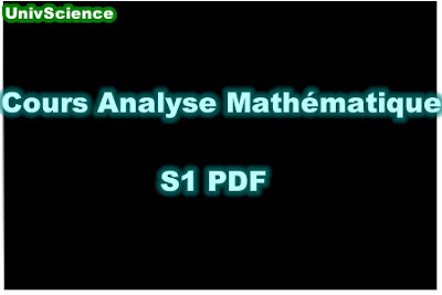 Cours Analyse Mathématique S1 PDF .