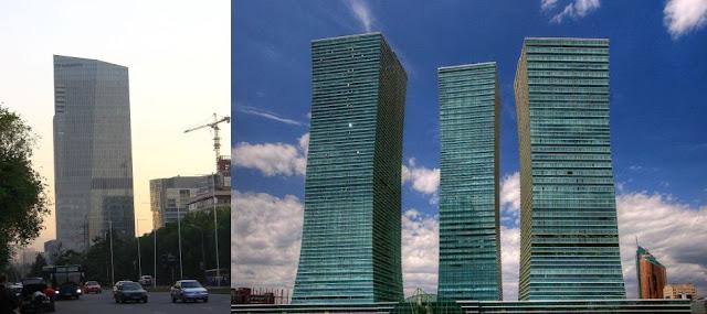 Plane passenger films weird rectangular glow above the clouds in Kazakhstan  Esentai-tower-emerald-tower-Kazakhstan