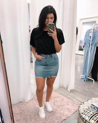 Outfit tumblr con falda de jean