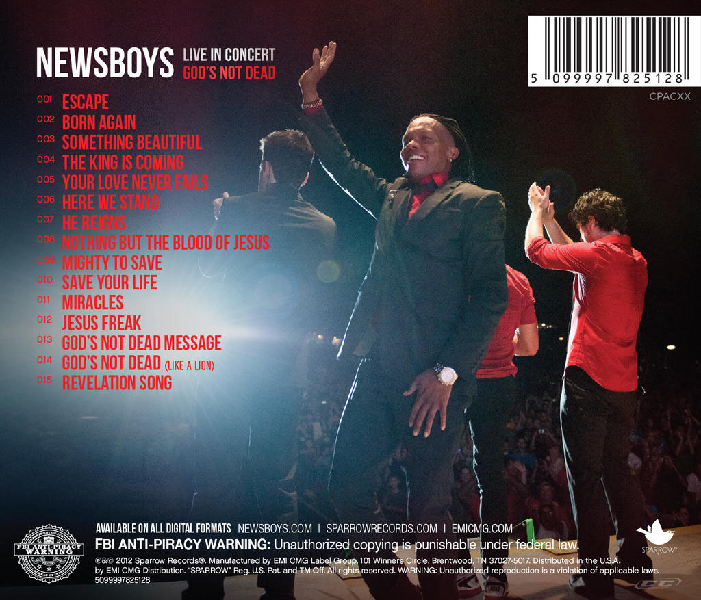 Newsboys - Live in Concert Gods not dead 2012 Tracklisting