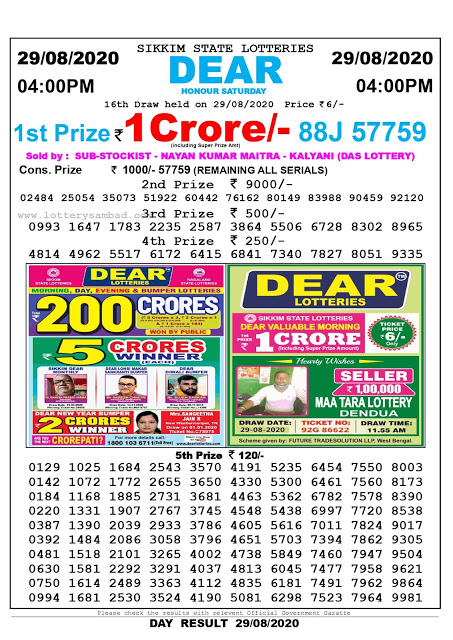 Lottery Sambad Today 29.08.2020 Dear Honour Saturday 4:00 pm