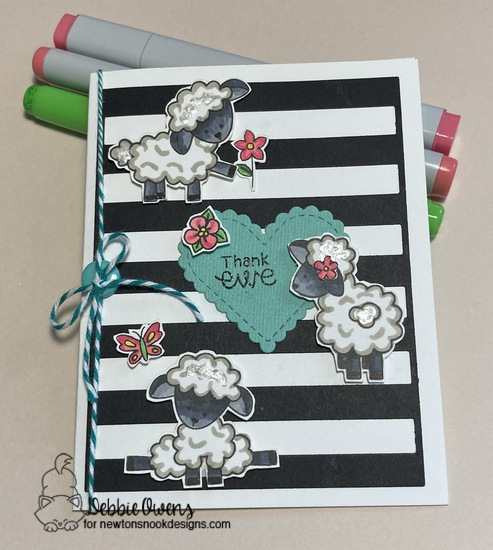 Thank ewe by Debbie features Baa, Heart Frames,  Woodland Spring, and Newton's Flower Garden by Newton's Nook Designs; #inkypaws, #newtonsnook, #cardmaking, #thankyoucards