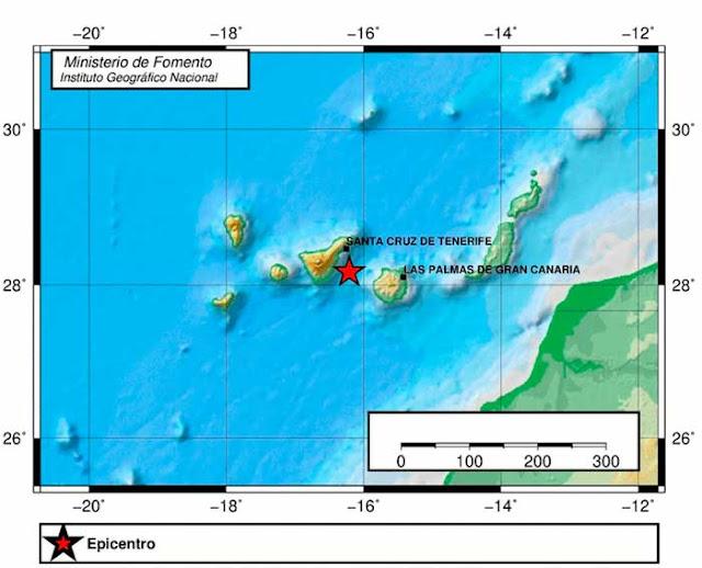 terremoto entre Tenerife y Gran Canaria registrado el viernes 15 de noviembre